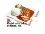 Křupavé kuřecí stehno s omáčkou, rýže