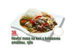 Hovězí maso na kari s kokosovou omáčkou, rýže