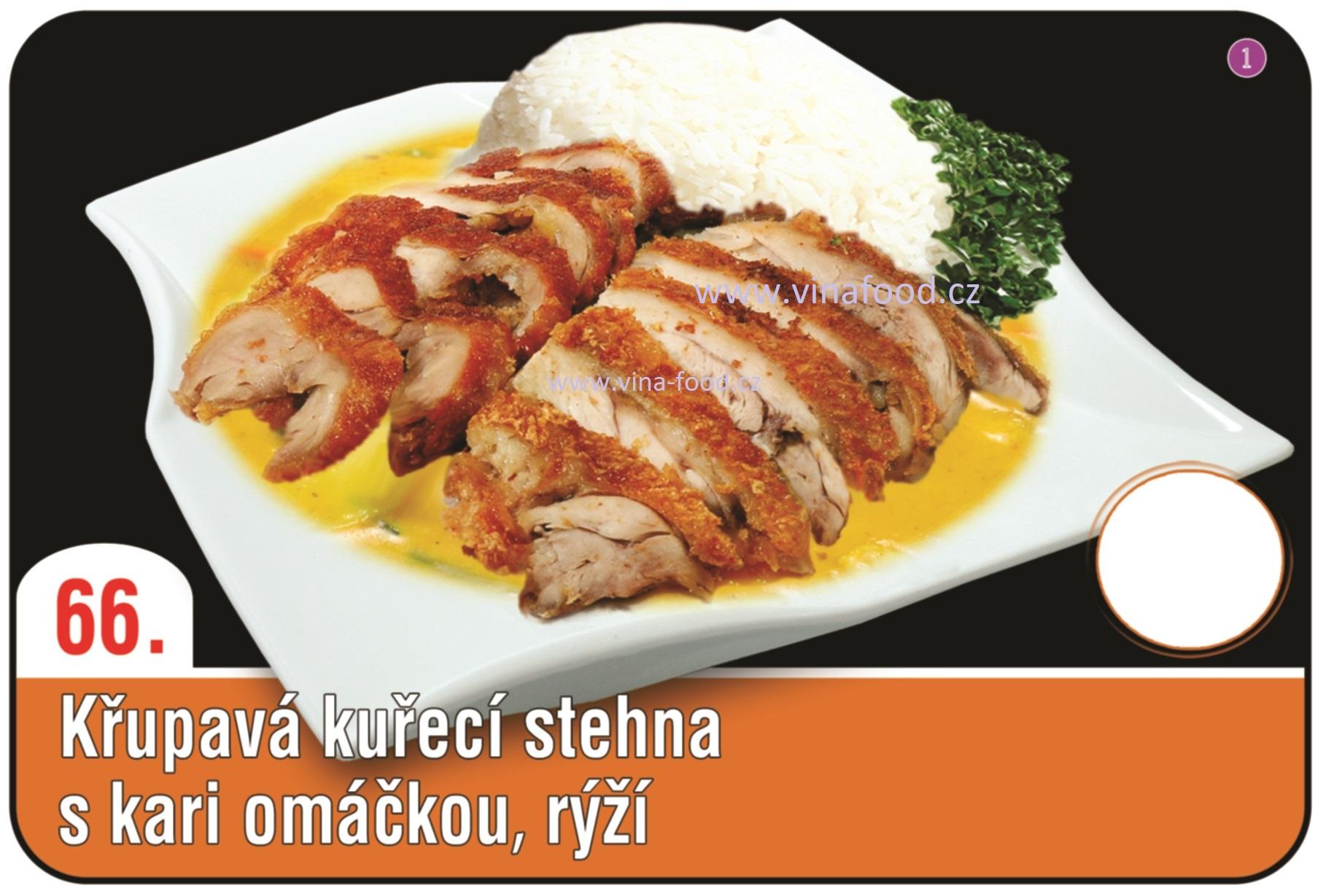 Křupavá kuřecí stehna s kari omáčkou a rýží