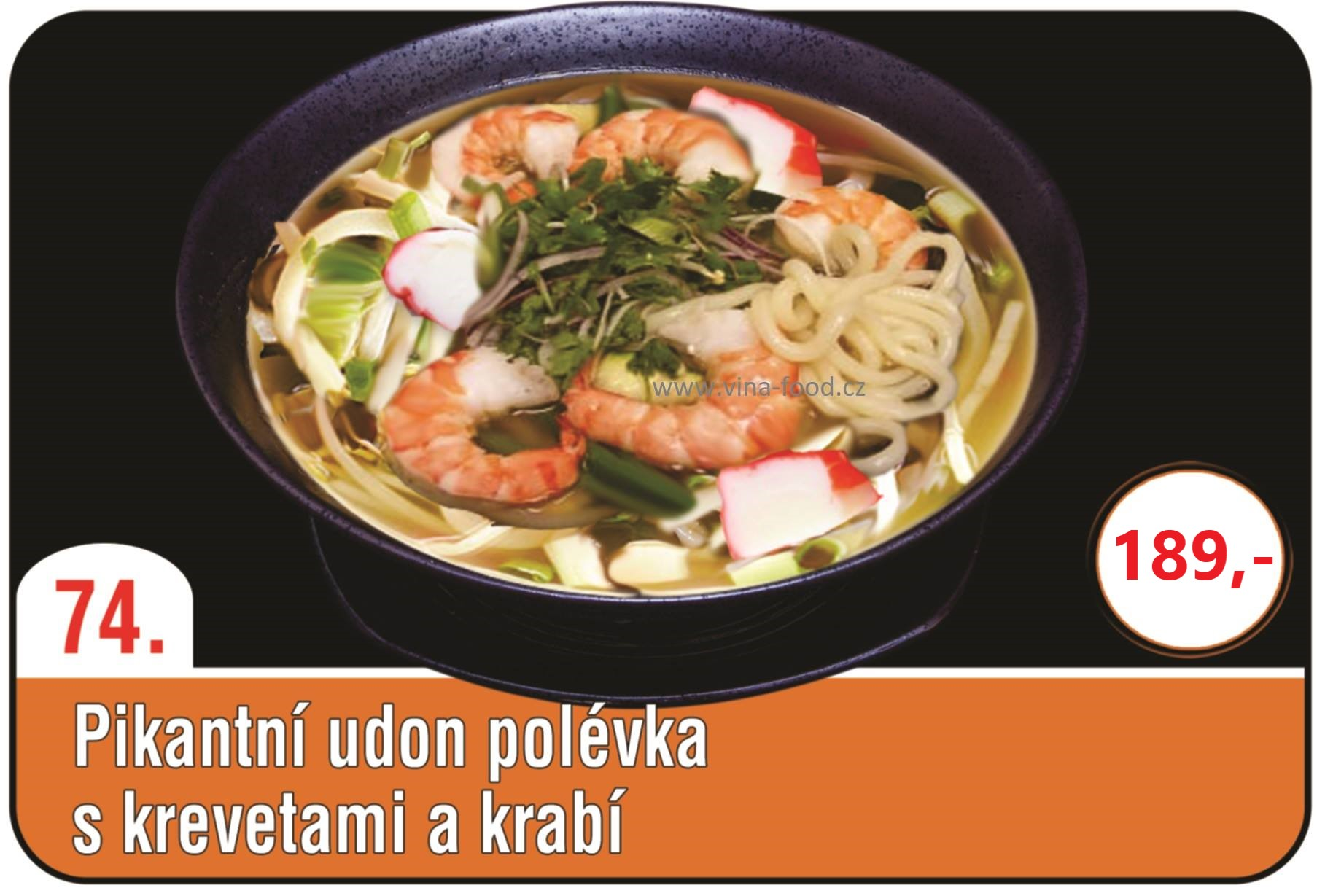 Pikantní udon polévka s krevetami a krabi