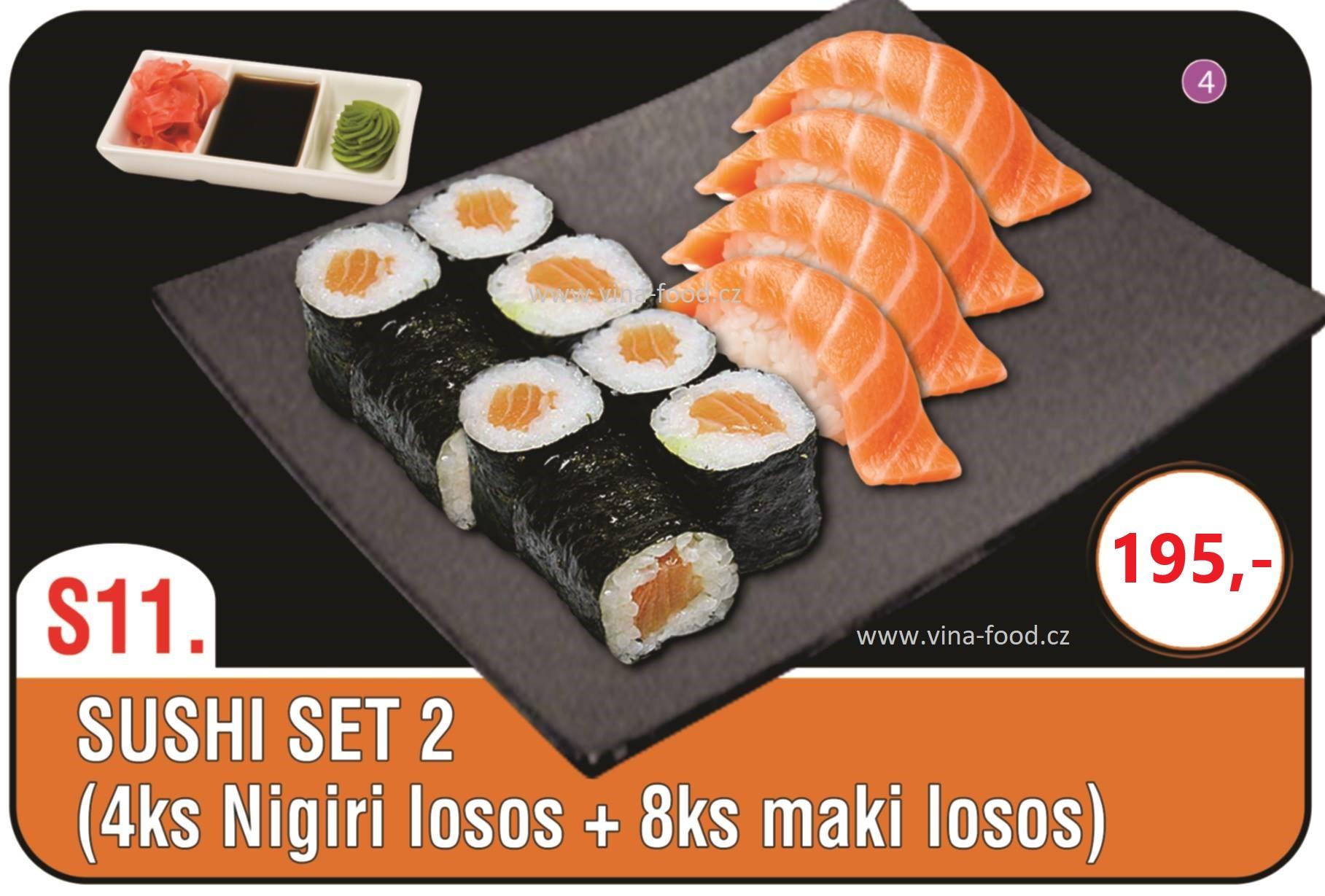 Sushi set 2 (4ks nigiri losos + 8ks maki losos)