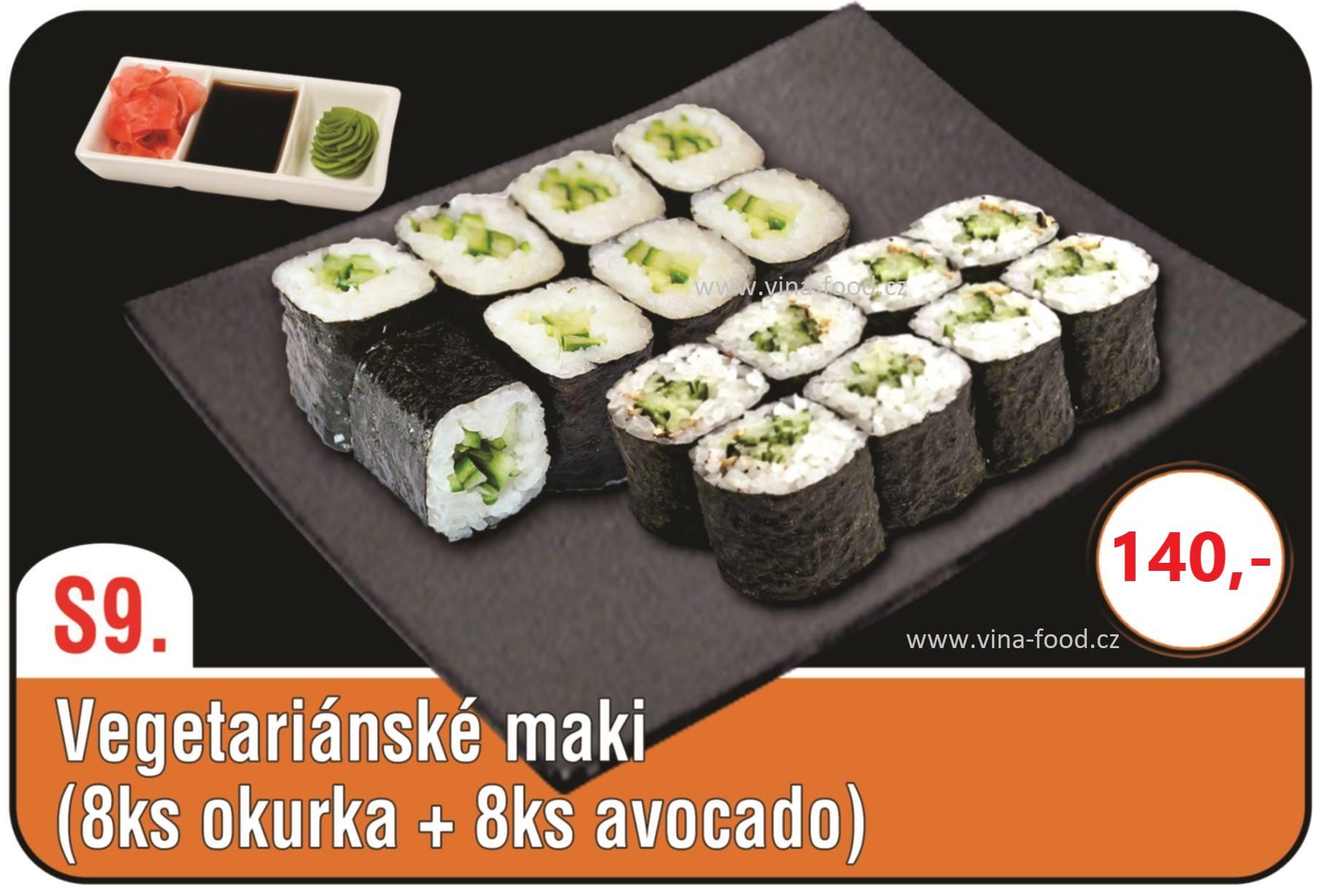 Vegetariánské maki (8ks okurka + 8ks avocado)