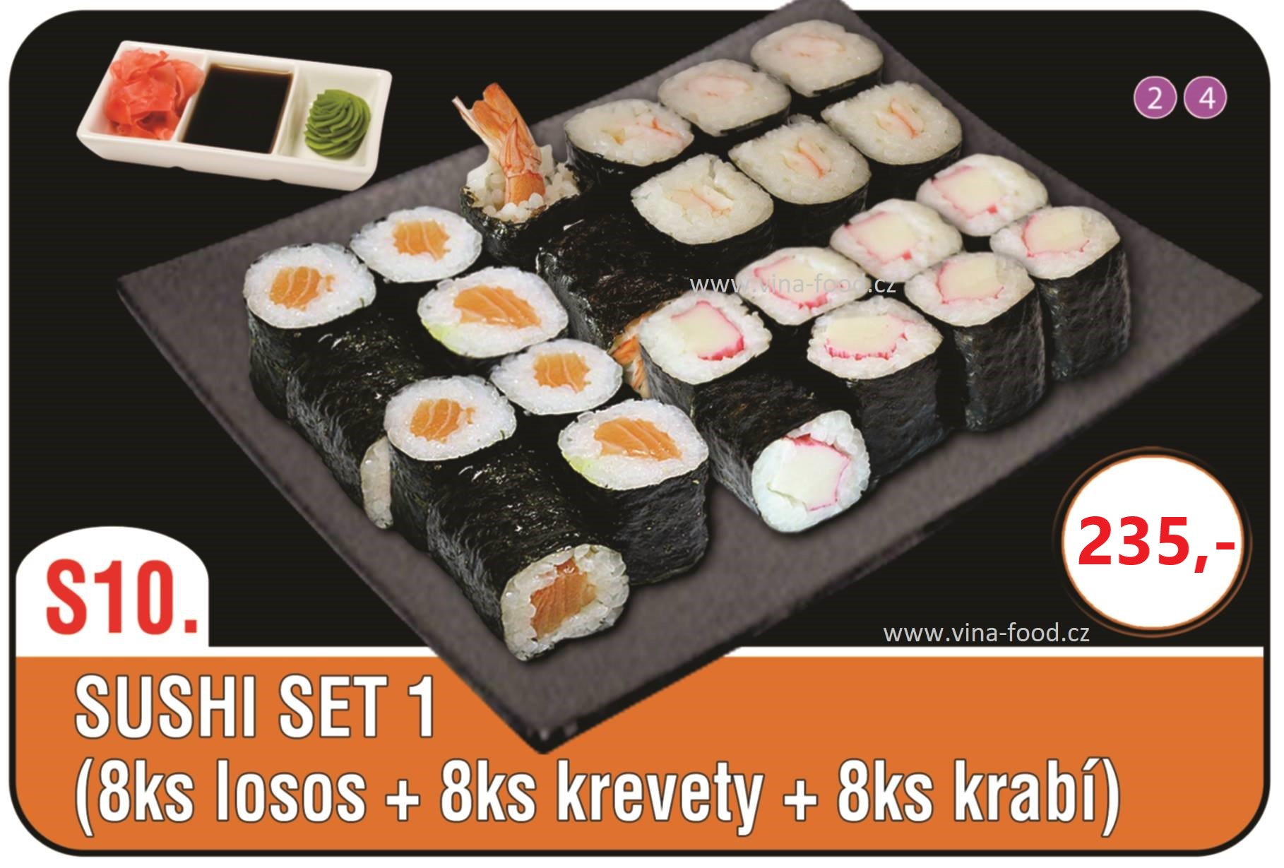 Sushi set 1 (8ks losos + 8ks krevety + 8ks krabí)