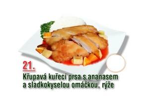 Křupavá kuřecí prsa s ananasem a sladkokyselou omáčkou, rýže