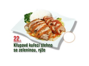Křupavé kuřecí stehno se zeleninou, rýže