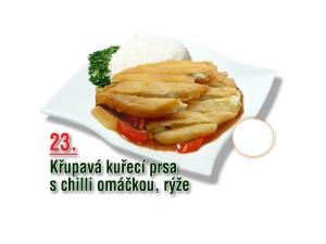 Křupavá kuřecí prsa s chilli omáčkou, rýže