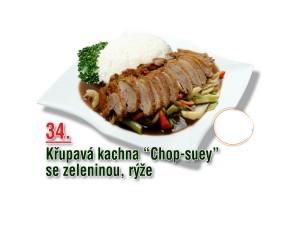 "Křupavá kachna ""Chop-Suey"" se zeleninou, rýže"