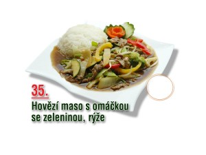 Hovězí maso s omáčkou se zeleninou, rýže