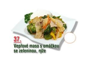 Vepřové maso s omáčkou se zeleninou, rýže