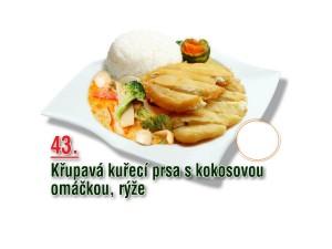 Křupavá kuřecí prsa s kokosovou omáčkou, rýže