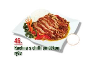 Kachna s chilli omáčkou, rýže